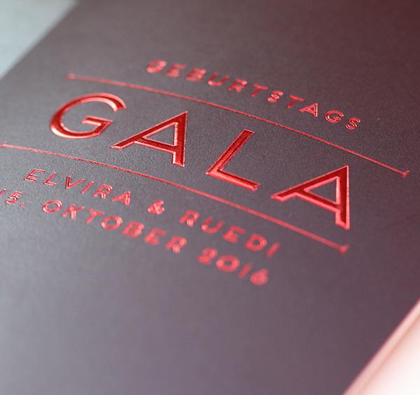 Geburtstags Gala Einladung, Veredelung durch Heissfolienprägung, EightyNine, Agentur für Corporate Design und Grafik in St. Gallen, Schweiz
