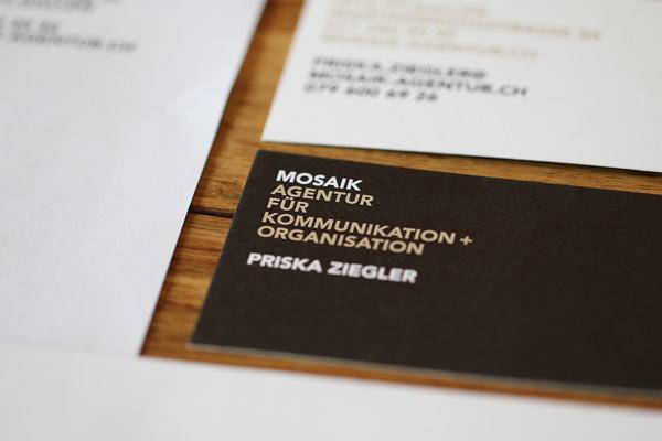 Visitenkarte, Erscheinungsbild für Mosaik Agentur von EightyNine, Agentur für Corporate Design und Grafik in St. Gallen, Schweiz